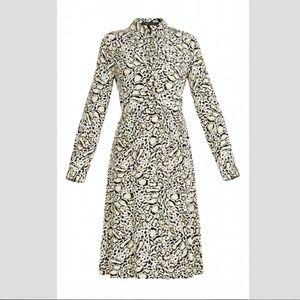 BCBGMaxAzria Silk Leopard Print Midi Dress Small